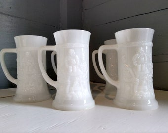 Mugs Beer Steins Vintage White 3D Picture Mugs Glass Collectors Mugs Display Mugs Gift Set of Five Barware Photo Prop RhymeswithDaughter