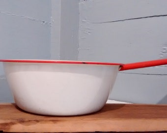 Vintage Enamelware Pot White with Red Rim and Handle Cookware Farmhouse Country Kitchen Decor Photography Prop RhymeswithDaughter