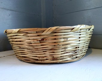 Basket Round Large Bamboo Vintage Display Table Decor Primitive Rustic Boho Farmhouse Home Decor Photo Prop RhymeswithDaughter