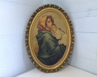 Vintage Litho Madonna and Child Art Religious Framed Oval Gold Boho Photo Prop RhymeswithDaughter