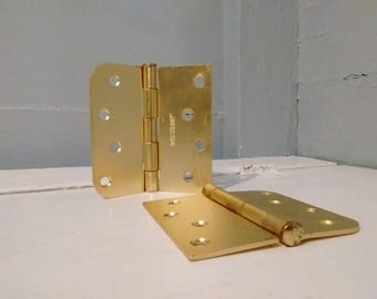 4 Inch Door Hinges Heavy Metal Rounded and Square Edge Combo Brass Color Finish Salvage Hardware RhymeswithDaughter