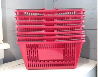 Vintage Red Grocery Basket Market Basket Easter Basket Toy Craft Storage Plastic Heavy Duty Dorm Shower Basket Photo Prop RhymeswithDaughter