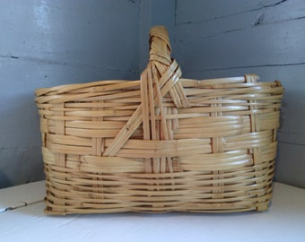 Basket with Handle Bamboo Large Vintage Flower Basket Market Basket Primitive Farmhouse Rustic Home Decor Photo Prop RhymeswithDaughter