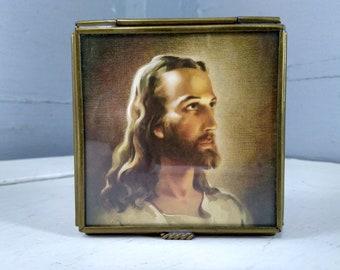 Vintage Keepsake Box Jesus Portrait Glass Brass Rosary Box Mirrored Jewelry Box Religious Christian Decor Photo Prop  RhymeswithDaughter