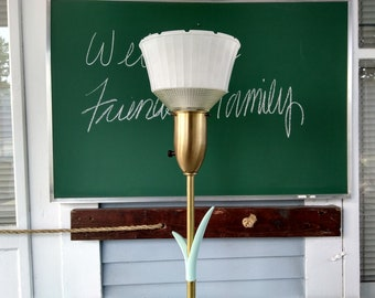 Floor Lamp Rimbrandt Vintage Glass and Cloth Shade Torchiere Lamp Lighting 3-Way Mogul Base Metal Brass Finish Photo Prop RhymeswithDaughter