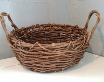 Twig Basket with Handles Large Round Table Decor Flower Basket Rustic Country Farmhouse Kitchen Home Decor RhymeswithDaughter
