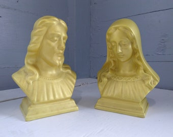 Jesus and Mary Busts Sculptures Statues Vintage Ceramic Yellow Religious Decor Christianity Gift Idea Photo Prop Rhymeswithithdaughter