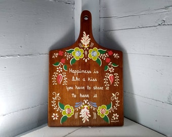 Vintage, Wood, Cutting Board, Wall Hanging, Kitchen Decor, Country, Farmhouse, MidCentury Modern, Floral, Photo Prop,  RhymeswithDaughter