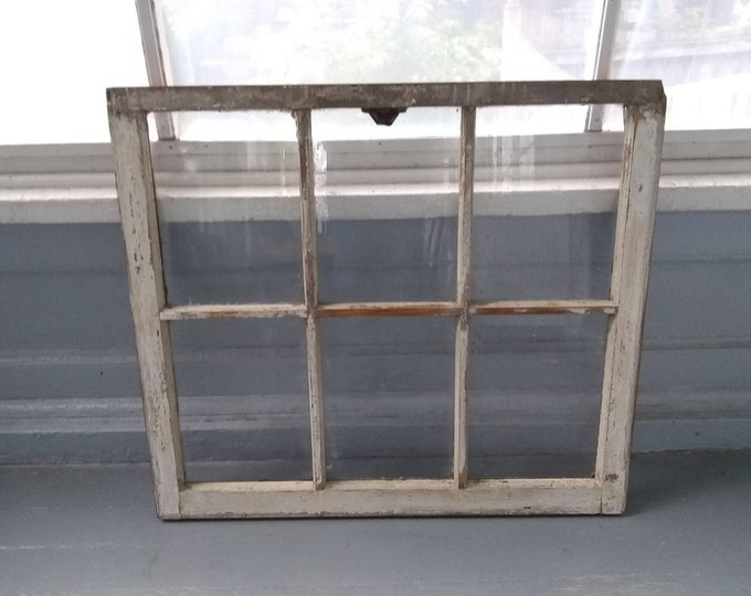 Featured listing image: Antique, 6 Pane Window Sash, Picture Frame, Wedding Frame, Window Frame, Farmhouse, Cottage Chic, Rustic, Home Decor, RhymeswithDaughter