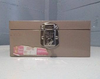 Vintage Portable File Check Box with Key Personal Records File Box Woolworth Herald Square Photo Prop RhymeswithDaughter