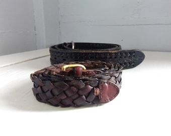 Mens Belt Size 42 Skinny Belt Wide Belt Black Belt Brown Belt Leather Belt Woven Belt Braided Belt Vintage RhymeswithDaughter