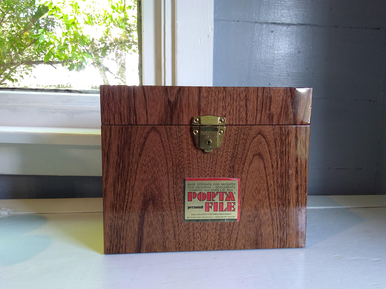 vintage portable file folder box port file box metal faux. Black Bedroom Furniture Sets. Home Design Ideas