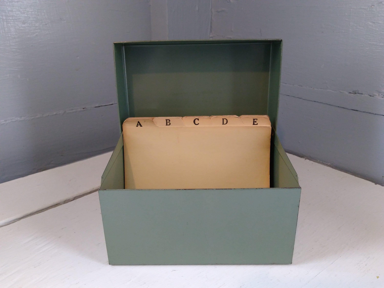 Vintage Index Card File Box Recipe Box 4x6 Metal Gray