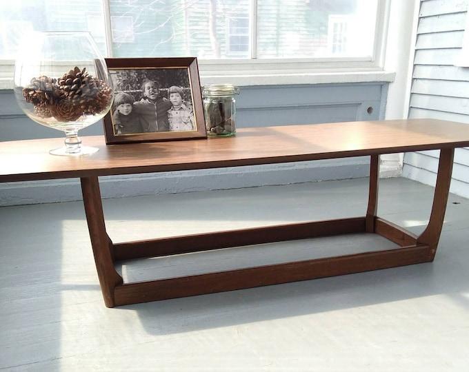 Featured listing image: Vintage Surfboard Coffee Table  Wood Laminate Large Long Narrow Mid Century Modern Furniture Livingroom Photo Prop Rh
