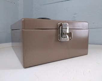 Vintage Metal Lock Box with Key Check Box Tan Industrial Portable Home Office File Box Records File Cash Box Photo Prop RhymeswithDaughter