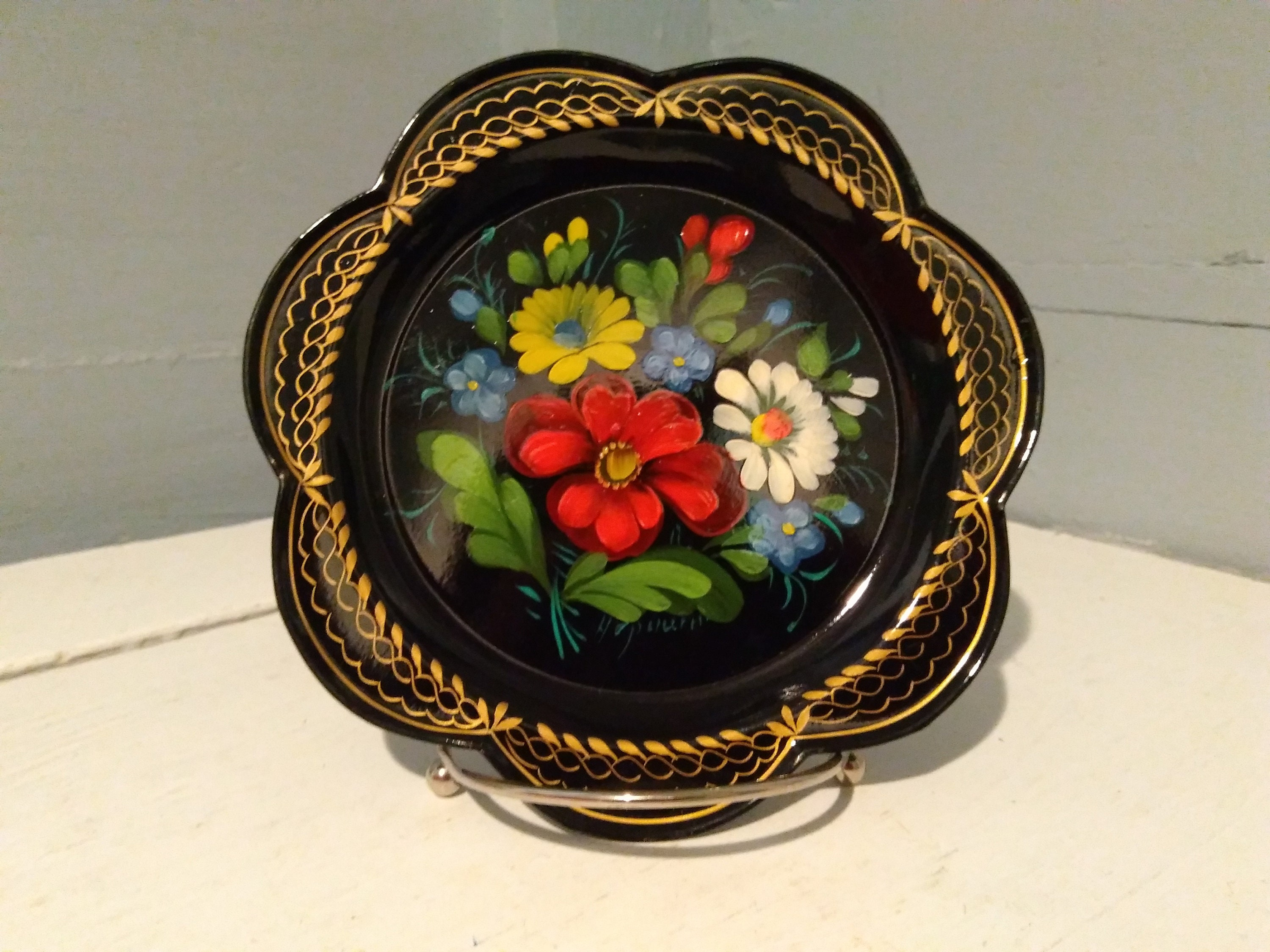 Vintage Russian Metal Toleware Serving Tray Drink Tray Decorative Tray Black Lacquered Hand Painted Metal Tray Rhymeswithdaughter