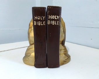 Bookends Holy Bible Praying Hands Vintage 60s Lego Religious Decor Christianity Religious Gift Photo Prop  RhymeswithDaughter
