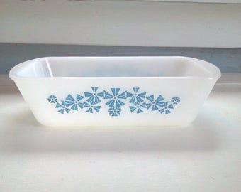 Casserole Dish Glasbake Vintage Snowflake Glass Loaf Dish No J-522 Kitchen Baking Cooking White Blue  Photo Prop RhymeswithDaughter