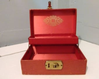 Jewelry Box Red Vintage MidCentury Mele Style Keepsake Box Small Gift for Her Photo Prop RhymeswithDaughter