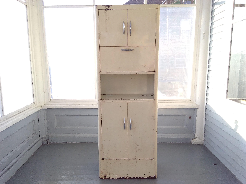 Kitchen Pantry Hutch Vintage 50s Tall White Metal Kitchen ...