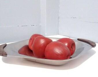 Vintage Danish Modern Metal Serving Platter with Wood Handles Dining Serving Part Platter Photo Prop RhymeswithDaughter