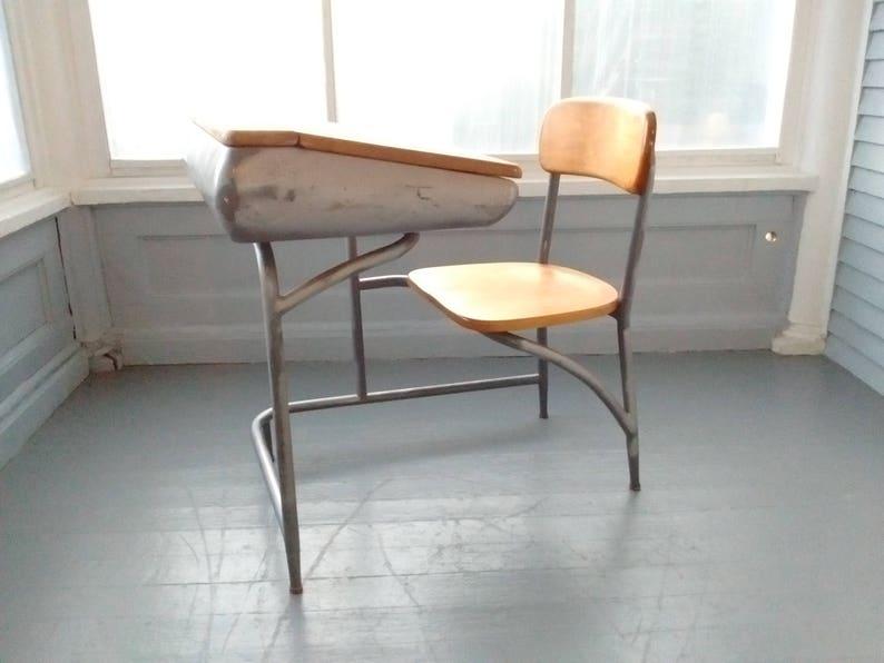 Vintage Kids Desk Chair School Desk Metal Wood MidCentury Eames Era Heywood Wakefield Furniture Photo Prop RhymeswithDaughter