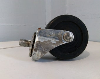 """One Vintage Wagner 3"""" Wheel with 1/2"""" Threaded Stem  Furniture Wheel Caster with 3/4"""" T Stem Bearings Hardware Industrial RhymeswithDaughter"""