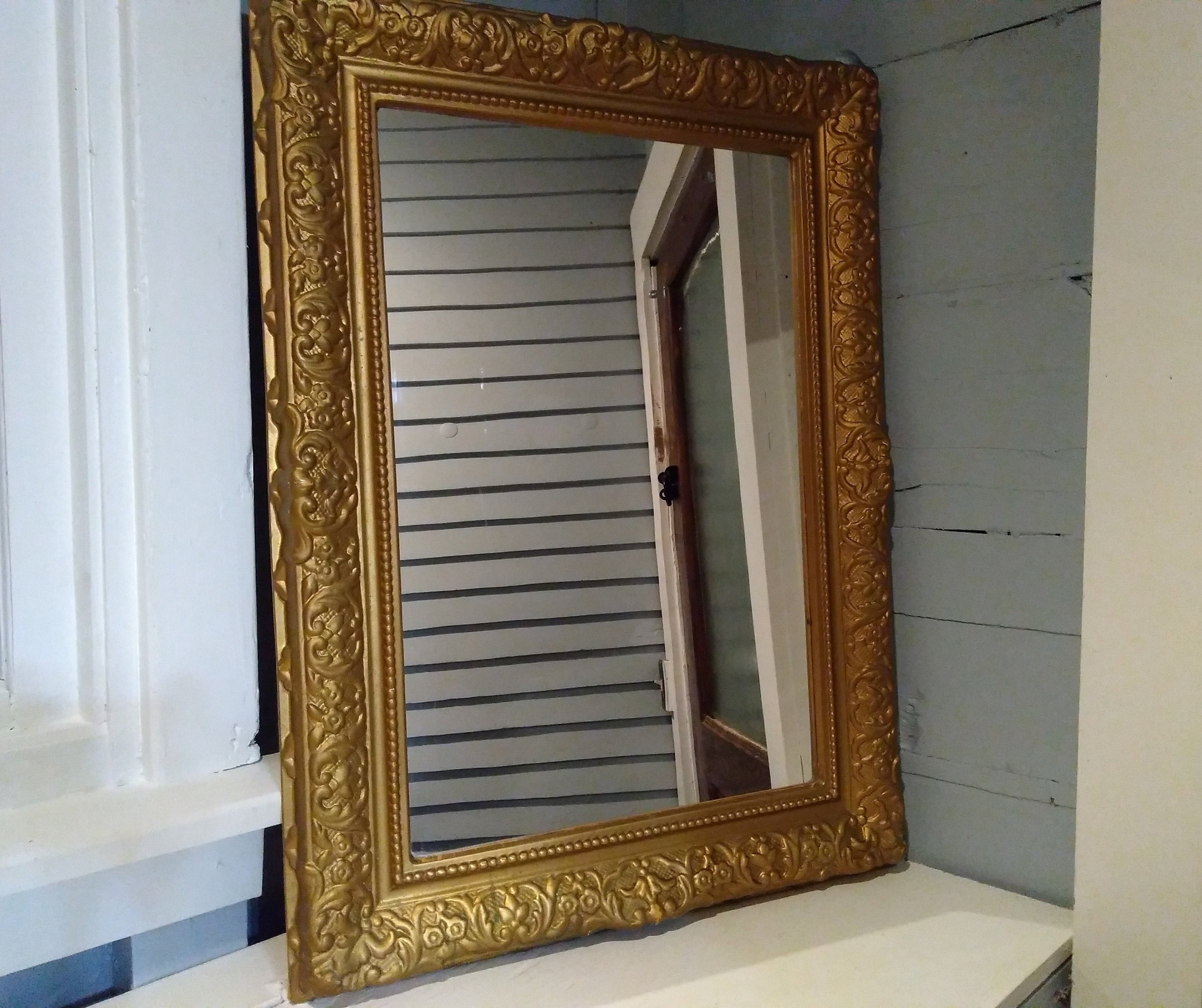 Vintage Large Mirror Wall Mirror Accent Mirror Rectangle Gold