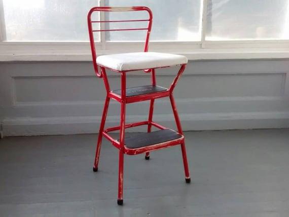 Vintage 50s Flip Up Step Stool Ladder Chair Retro Kitchen Furniture Decor  Photo Prop RhymeswithDaughter