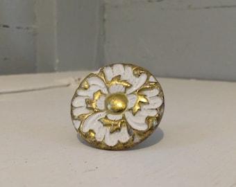 Vintage Floral Knob Round Mushroom Shape Furniture Hardware Drawer Pulls Cabinet Knob Metal Gold and White RhymeswithDaughter