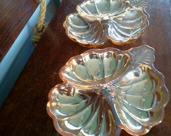 Vintage Marigold Carnival Glass Candy Dish Ring Dish Set Kitchen Decor Dining Table Decor Clover Mid Century Photo Prop RhymeswithDaughter