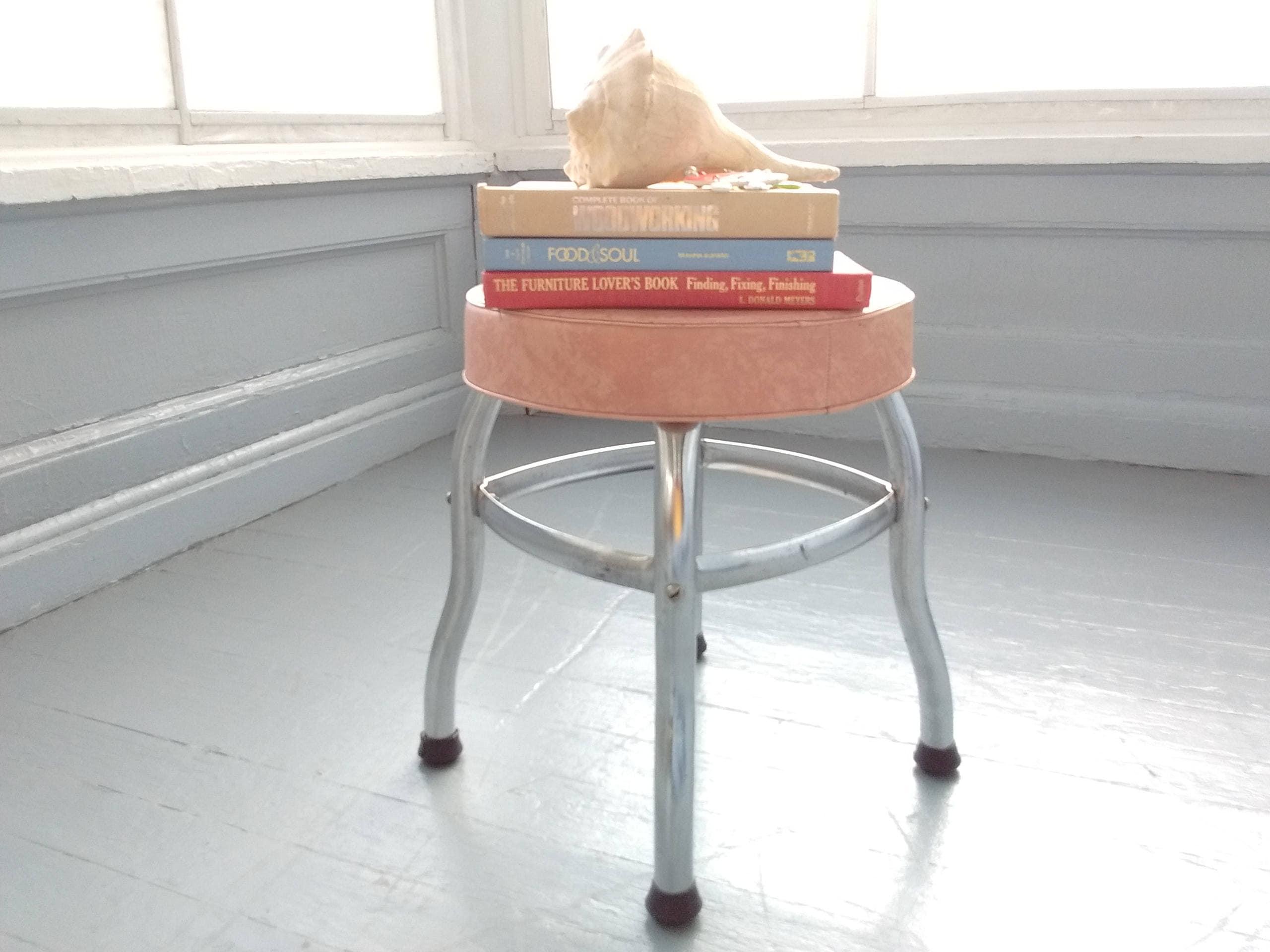 Amazing Vintage Stool Foot Stool Round Metal Stool Upholstered Inzonedesignstudio Interior Chair Design Inzonedesignstudiocom