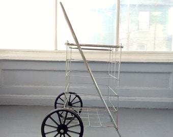 Vintage Shopping Cart Folding Wire Metal Pull Cart Grocery Cart Basket Cart Farmers Market Cart Two Wheel Cart RhymeswithDaughter