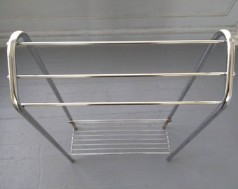Vintage, Rack, Quilt Stand, Towel Rack, Metal, Chrome Finish, Home Decor, Photo Prop, RhymeswithDaughter