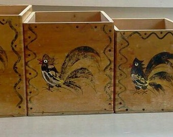 Woodpecker Woodware Vintage Wooden Rooster Nesting Boxes Hand Painted Japan Kitchen Decor Photo Prop RhymeswithDaughter
