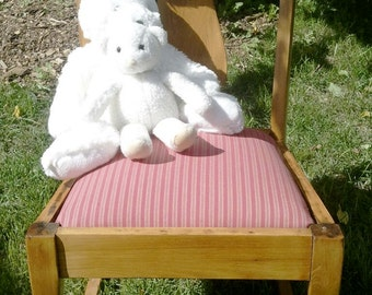 Antique Wood Rocking Chair Upholstered Seat Pink Primitive Farmhouse Decor Cottage Chic Decor Rustic Primitive Furniture RhymeswithDaughter
