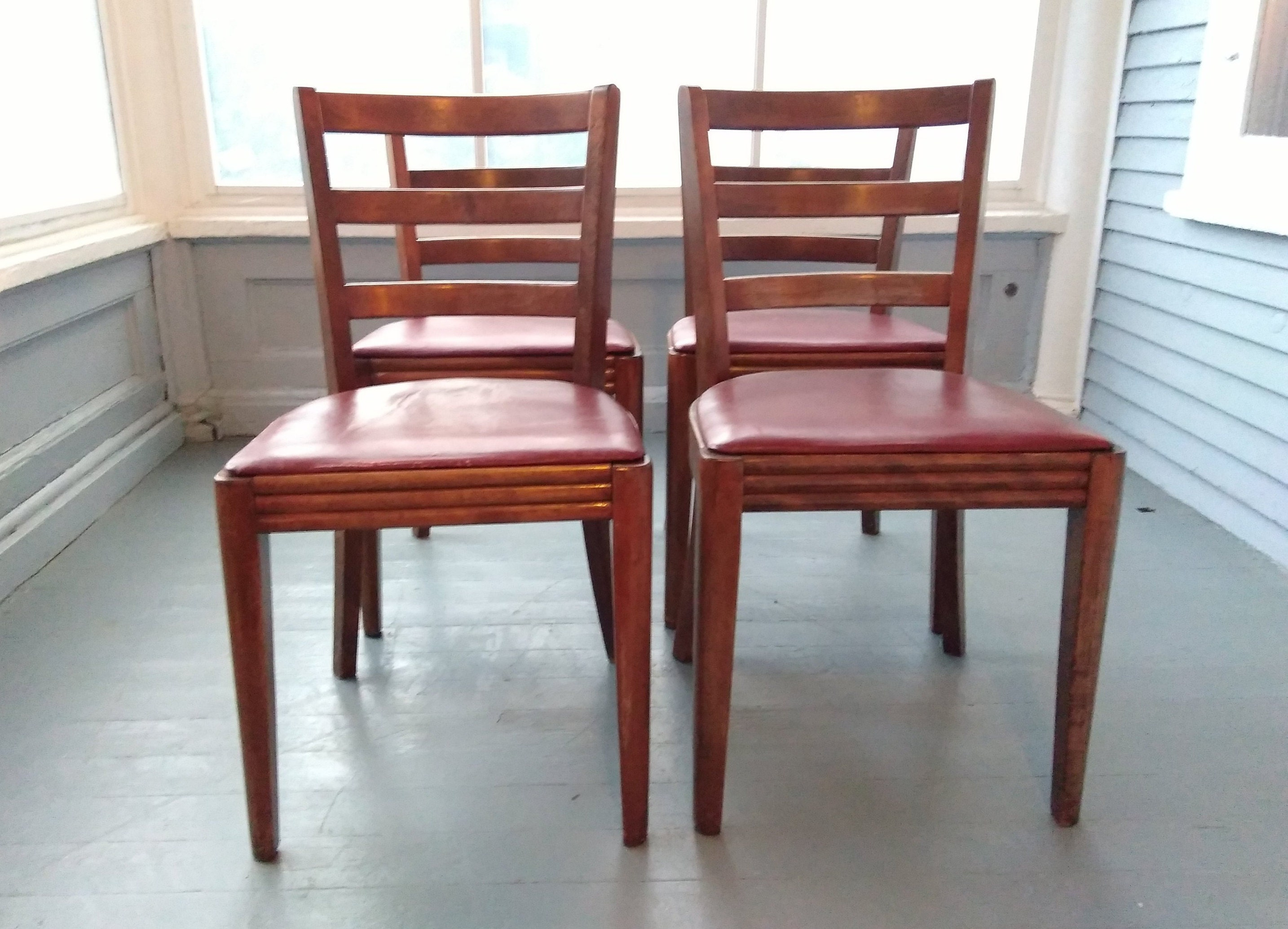 Set Of Four Wood Dining Chairs Danish Modern Mid Century