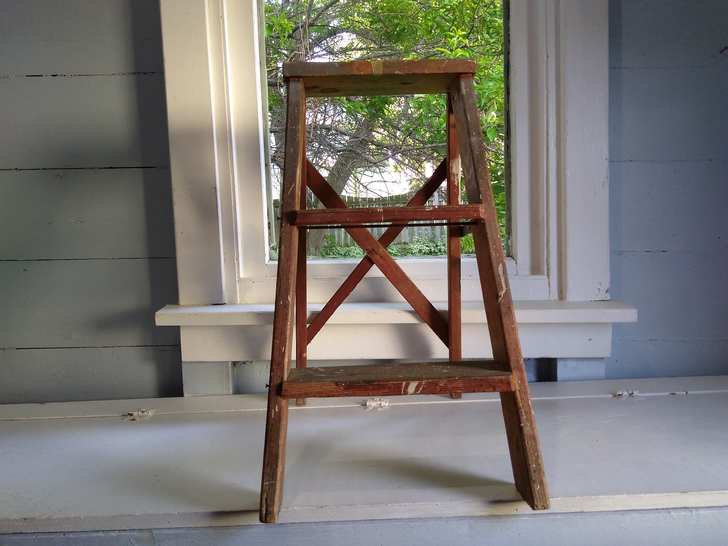 Vintage Wood 2 Step Ladder Short Old Wood Ladder Plant Stand Display Ladder Country Chic Farmhouse Decor Photo Prop Rhymeswithdaughter