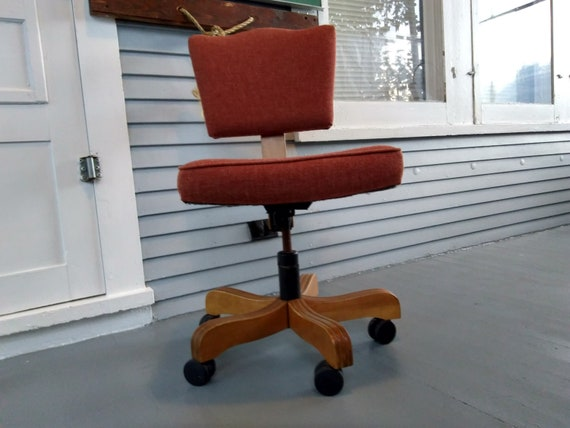 Peachy Vintage Rolling Desk Chair Midcentury Modern Industrial Office Chair Upholstered Wood Photo Prop Rhymeswithdaughter Spiritservingveterans Wood Chair Design Ideas Spiritservingveteransorg