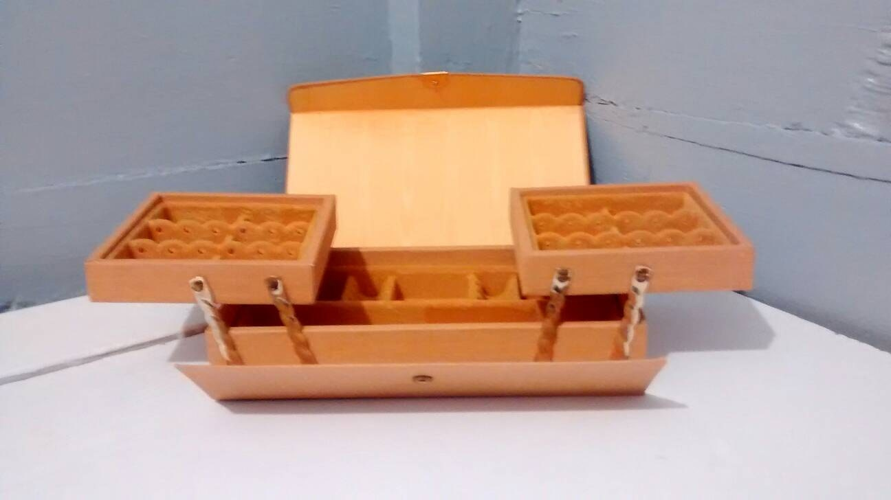 Jewelry Box Earring Box Jewelry Travel Case Mid Century Modern Gold Vintage