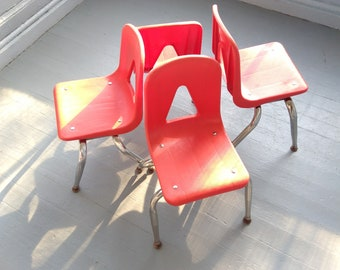 Vintage Chairs Kids Chairs Shell Chairs Stacking Chairs Set Orange Seat Chrome Legs  Kids Room Decor Daycare Photo Prop RhyneswithDaughter