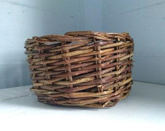 Vintage, Decorative, Basket, Twig Basket, Home Decor, Rustic, Country, Farmhouse, Storage, Photo Prop, RhymeswithDaughter