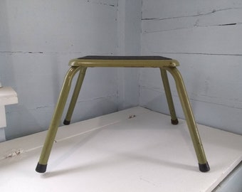 Vintage, Step, Stool, Metal, Pencil Legs, Green, Plant Stand, Photo Prop, RhymeswithDaughter