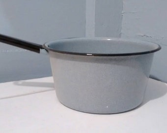 Vintage Enamelware Pot Blue with Black Trim Kitchen Decor Cookware Farmhouse Country, Photography Prop RhymeswithDaughter