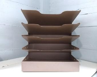 Vintage Desk Tray Paper Tray Paper File Desk Organizer 5-Tier Beige Metal MidCentury Industrial Office Decor Photo Prop RhymeswithDaughter