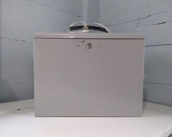 Lock Box, File Box, Metal, Portable, Office Decor, Storage Box, Vintage, Tan, Home Decor, Industrial, Photo Prop,  RhymeswithDaughter