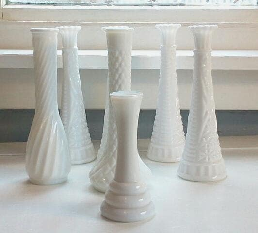Vintage White Milk Glass Vases Flower Vases Table Decor Wedding