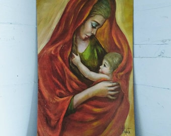 Wall Art, Mother and Child, by Kobata, Lithograph, Vintage, Boho Chic, Home Decor, RhymeswithDaughter