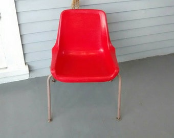 Vintage Kids Chair Shell Chair Childrens Chair Kids Room Furniture Metal Plastic Red Tan MidCentury Photo Prop RhymeswithDaughter