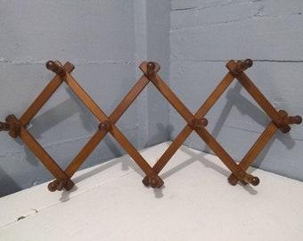 Vintage Hanging Accordion Style Expandable Rack Vintage Peg Rack Mug Rack Hat Rack Scarf or Jewelry Display Photo Prop RhymeswithDaughter